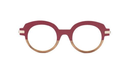 Monture bois Agathe 12/RG - coloris bordeaux piqué et redgum - vue de face