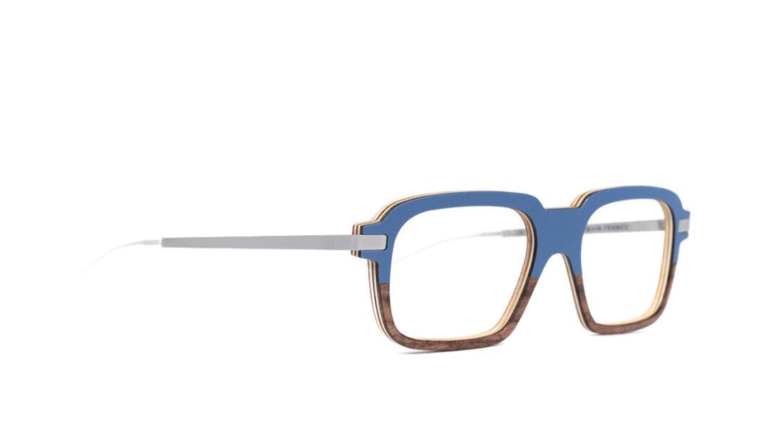 Monture bois Eloi 4/RN - coloris bleu et ronce de noyer - vue de côté