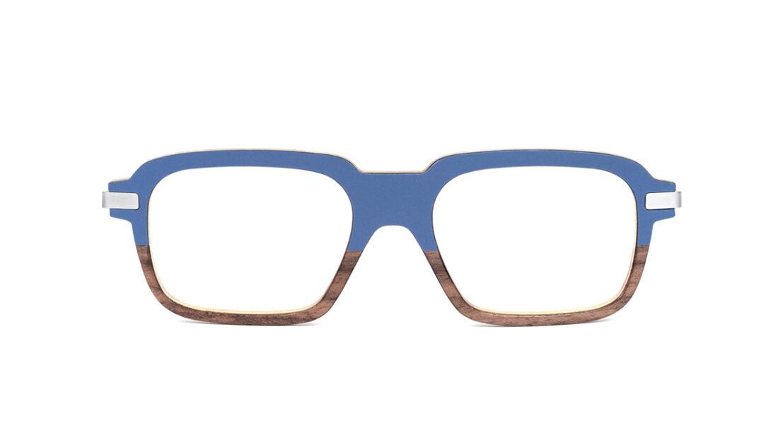 Monture bois Eloi 4/RN - coloris bleu et ronce de noyer - vue de face
