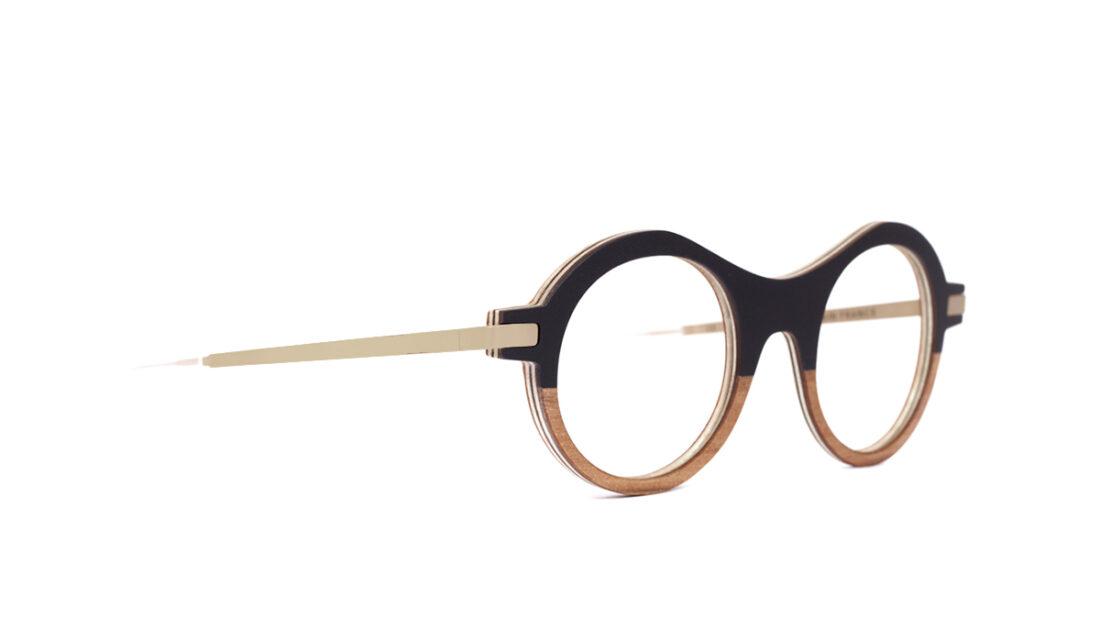 Monture bois Elsa 1/RG - coloris noir et redggum - vue de côté