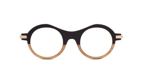 Monture bois Elsa 1/RG - coloris noir et redggum - vue de face