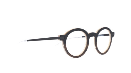 Monture bois Ernest 1/EU - coloris noir et eucalyptus - vue de côté