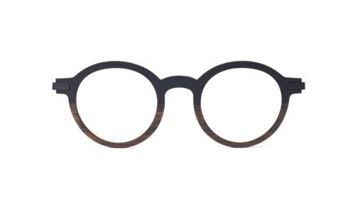 Monture bois Ernest 1/EU - coloris noir et eucalyptus - vue de face