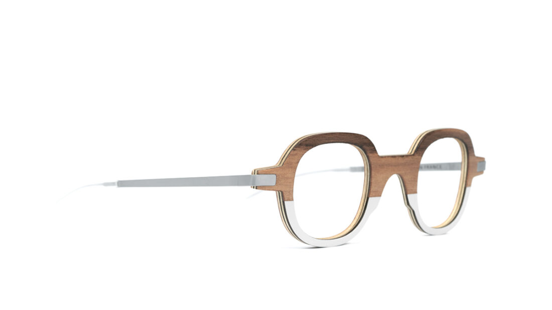 Monture bois NOA 19/2 - coloris redgum et gris claire - vue de côté