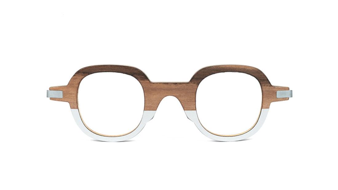 Monture bois NOA RG/2 - coloris redgum et gris clair - vue de face