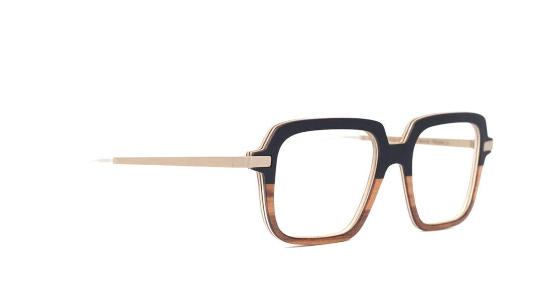 Monture bois Alice 1/RG - coloris noir et redgum - vue de côté