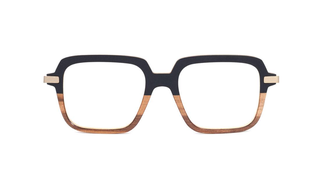 Monture bois Alice 1/RG - coloris noir et redgum - vue de face