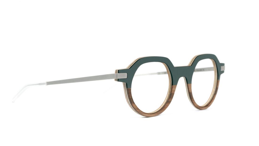 Monture bois Emile 19/RG - coloris gris vert et redgum - vue de côté
