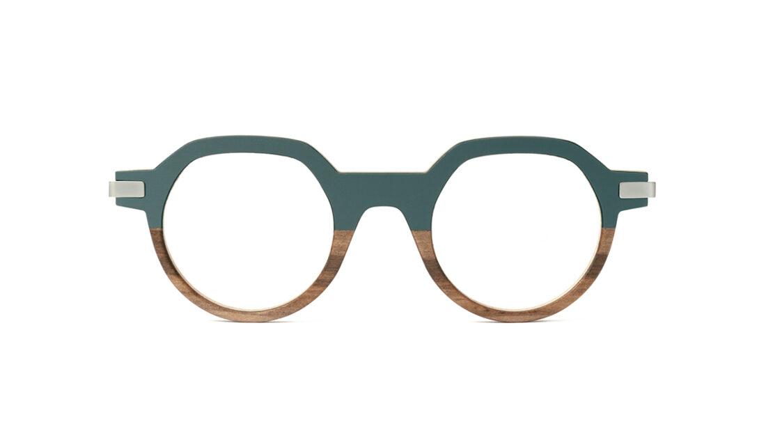 Monture bois Emile 19/RG - coloris gris vert et redgum - vue de face
