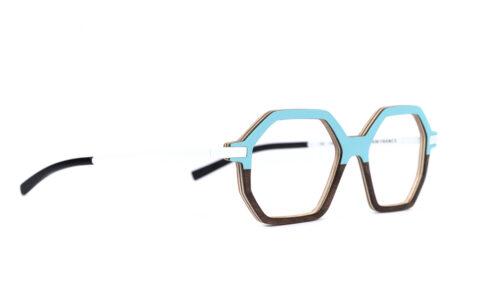 Monture bois Eva 5/RN - coloris turquoise et ronce de noyer - vue de côté