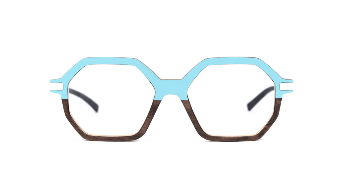 Monture bois Eva 5/RN - coloris turquoise et ronce de noyer - vue de face