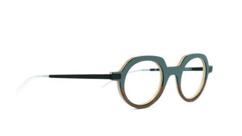 Monture bois Gaspard 19/RN - coloris gris vert et ronce de noyer - vue de côté