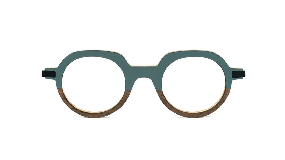 Monture bois Gaspard 19/RN - coloris gris vert et ronce de noyer - vue de face