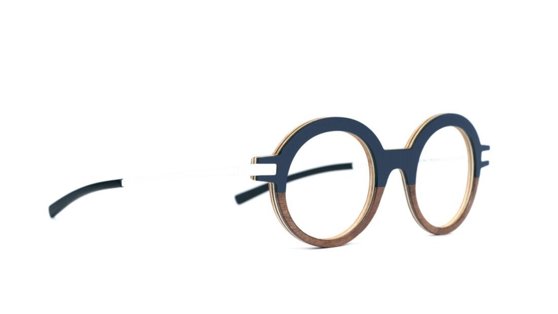 Monture bois Lila 18/RN - coloris bleu nuit et ronce de noyer - vue de côté