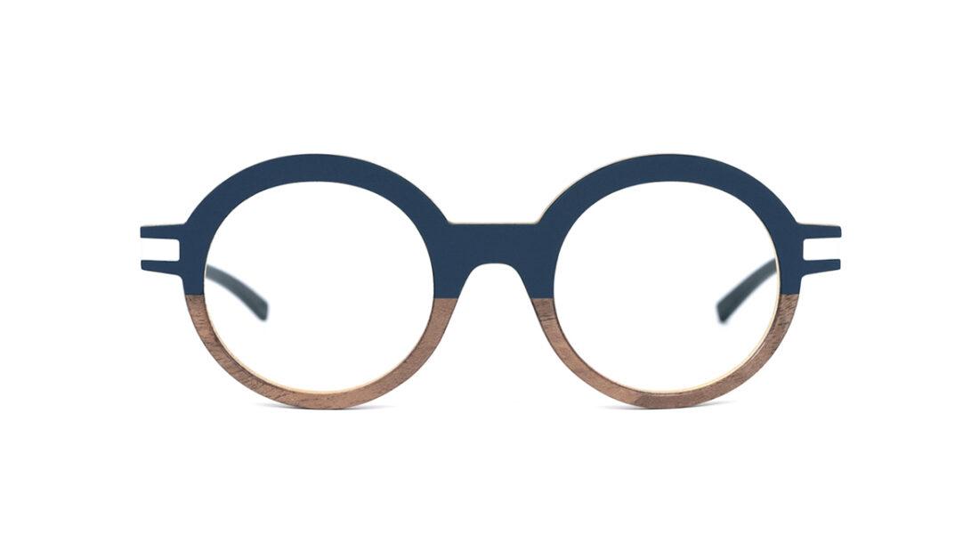 Monture bois Lila 18/RN - coloris bleu nuit et ronce de noyer - vue de face