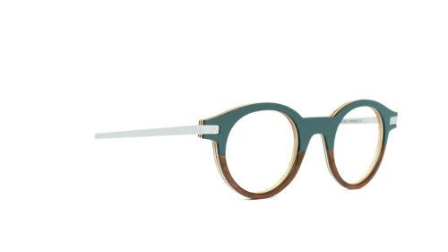 Monture bois Louis 19/RN - coloris gris vert et ronce de noyer - vue de côté