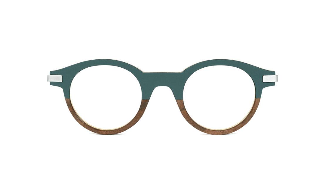 Monture bois Louis 19/RN - coloris gris vert et ronce de noyer - vue de face