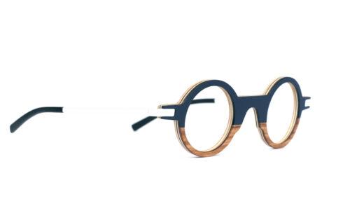 Monture bois Octave 18/OL - coloris bleu nuit et olivier - vue de côté