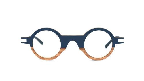 Monture bois Octave 18/OL - coloris bleu nuit et olivier - vue de face