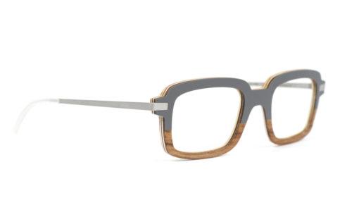 Monture bois Alain 6/RG - coloris gris foncé et redgum - vue de côté