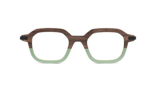 Monture bois Gabin RN/25 - coloris ronce de noyer et sauge - vue de face