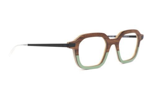 Monture bois Gabin RN/25 - coloris ronce de noyer et sauge - vue de côté