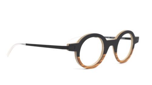 Monture bois Henri 1/OL - coloris noir et olivier - vue de côté