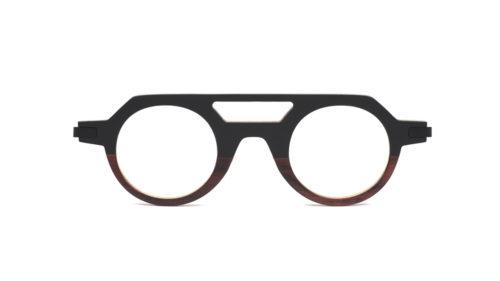Monture bois Lucas 1/BV - coloris noir et bois de violette - vue de face