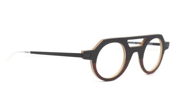 Monture bois Lucas 1/BV - coloris noir et bois de violette - vue de côté