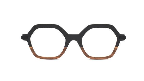 Monture bois Mia 1/RG - coloris noir et redgum - vue de face