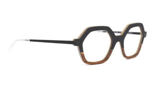 Monture bois Mia 1/RG - coloris noir et redgum - vue de côté