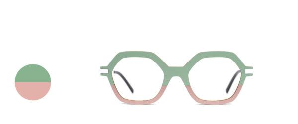 Monture bois Mia 25/24 - coloris sauge et rose - vue de face